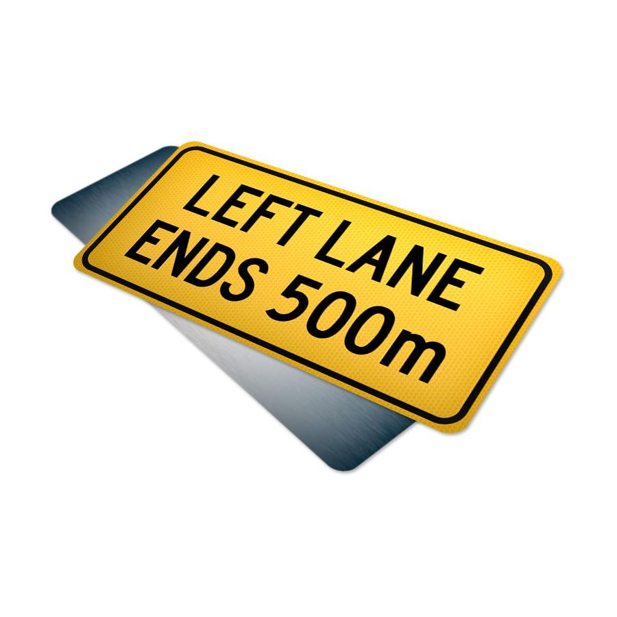 left lane ends 500m tab traffic supply 310sign